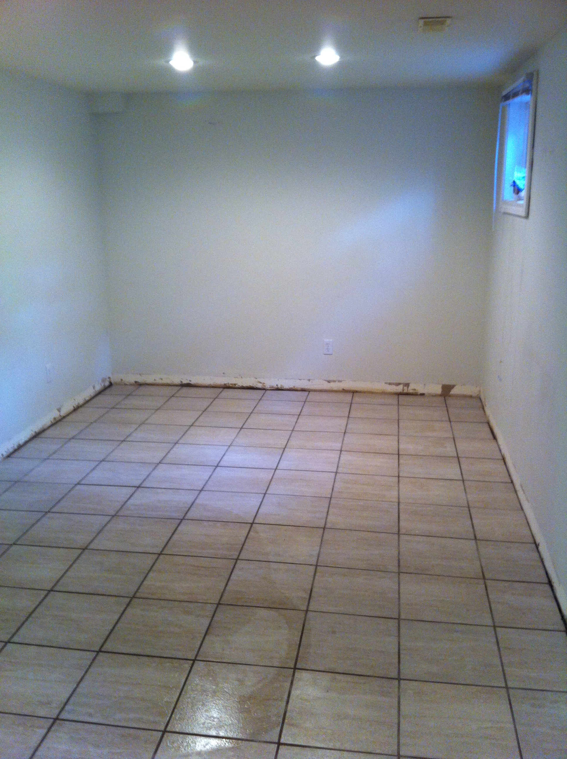 basement tile install
