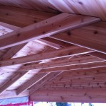 Exposed cedar roof framing