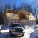 Trusses up sheathing started
